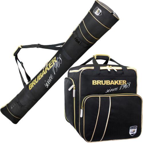 BRUBAKER /'Grenoble/' Kombi Set Stiefeltasche Skisack Schwarz Gold 170cm//190cm