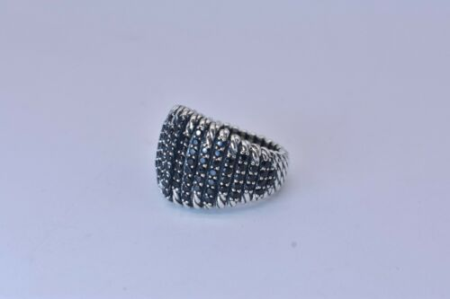 David Yurman Tempo Ring Sterling Silver With Black