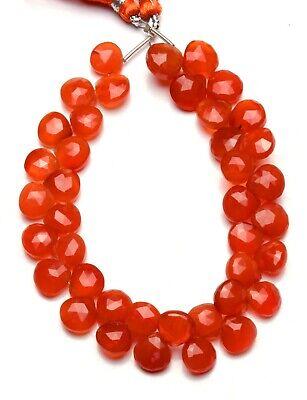 Natural Gemstone Carnelian 8.5MM Size Faceted Heart Shape Briolette Beads 9 Inch Full Strand Orange Briolette Beads