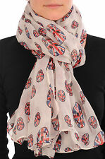 Linen Beige With British Flag Skull Unisex Scarf and Beach Sarong (SF000704)