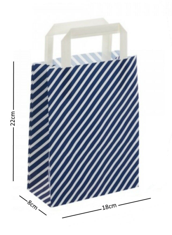 Blau & Weiß Stripe Birthday Party Paper Loot Gift Bags - Wedding Boutique Bag