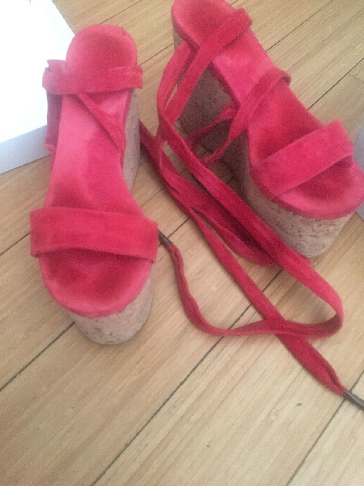 Isabel Marant Red Suede/Cork Platform Sandal Size 7