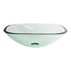 Square Sink Bowl : Contemporary-Square-Bowl-Clear-Tempered-Glass-Vessel-Sink-Bathroom ...