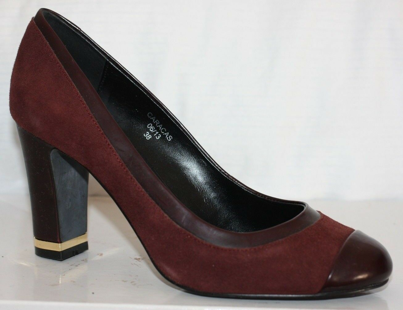 JONES Burgundy WINE LEATHER SUEDE Patent Court shoes SMART BLOCK HEEL 5 38 OFFICE