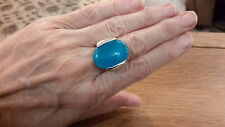 BRAND NEW SILVER  RING WITH A LARGE NATURAL STONE   SIZE M WITH GIFT BOX