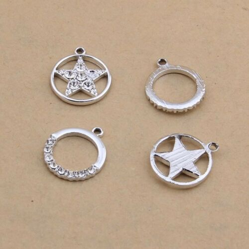Plated Silver Star Set with Diamonds Earring Making Pendant Accessories B1196