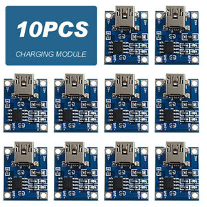 10pcs 5V MINI USB 1A 18650 TP4056 Lithium Battery Charger Module Charging Board*