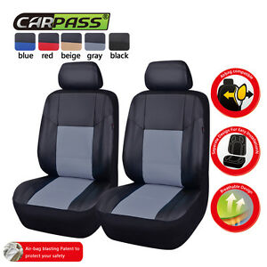 Universal-Car-Seat-Covers-Leather-Black-Grey-2-Front-For-Mazda-Holden-Hyundai-VW