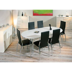 table rallonge ovale meuble de cuisine salon salle manger moderne blanc laque ebay. Black Bedroom Furniture Sets. Home Design Ideas