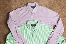Men's lot of 2 green and purple striped Ralph Lauren custom fit l/s shirt Medium