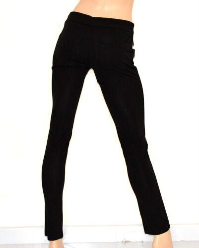 PANTALONE donna NERO skinny eco pelle leggings coccodrillo elegante cintura 70
