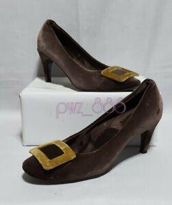 ROGER VIVIER Brown Velvet Pumps Heels Size 37