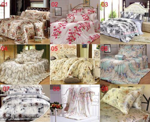 100/% Silk Silk Bedding Pillowcase 40x80//80x80 9 Colour Printed Flower