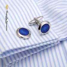 Round Blue Eye Sun Sterling Silver Jewellery Wedding Sleeve Cufflinks Pair #25