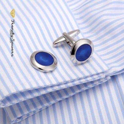 Redondo Azul Ojo Sol de plata esterlina joyas de boda en la manga Mancuernas Par # 25