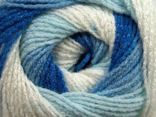 100gr Magic Glitz 47993 Blues White with Metallic Self-Striping DK Yarn 393yds