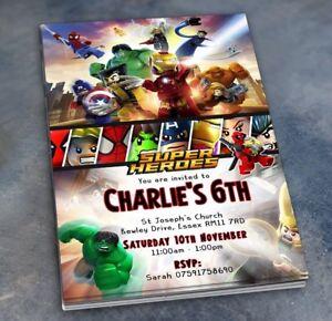 Image Is Loading Lego Superhero Invitations Personalised Birthday Party Invites