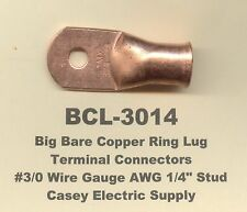 2 Bare Battery Copper Ring Terminal Connector 30 Gauge Wire 14 Stud Usa