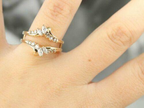 1Ct Marquise Cut Diamond 14K Yellow Gold Over Enhancer Wedding Wrap Ring Guard