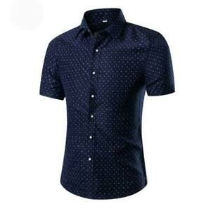 Luxury-formal-summer-short-sleeve-tops-men-039-s-t-shirt-casual-slim-fit-floral