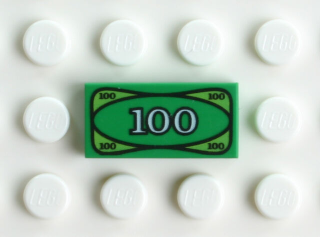 $50 Lego 3x White Tile 1x2 Custom Printed Dollar Banknotes $1 $100 Design NEW