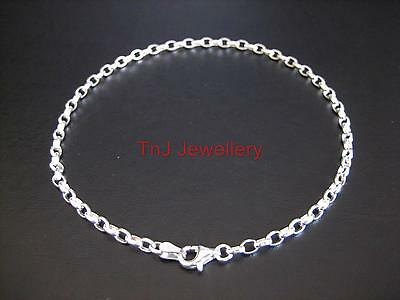 Genuine Solid 925 Sterling Silver Oval Belcher Anklet BEST QUALITY FREE POST
