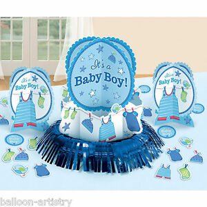 23-Piece-Blue-Boy-039-s-New-Baby-Shower-With-Love-Party-Table-Decorating-Kit