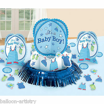 23 Piece Blue Boy's New Baby Shower With Love Party Table Decorating Kit