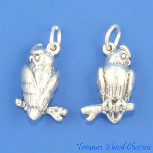 OWL WISE BIRD ON TWIG 3D 925 Solid Sterling Silver TRADITIONAL Charm MADE IN USA