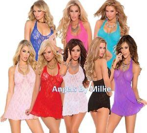 Women-Short-Nightgown-Stretch-Lace-Halter-Mini-Gown-Panty-Nightie-Lingerie-Set