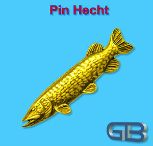 ANSTECKNADEL-PIN-Fisch-Hecht-aus-Zinn-farbe-Gold-Silber-Bronze