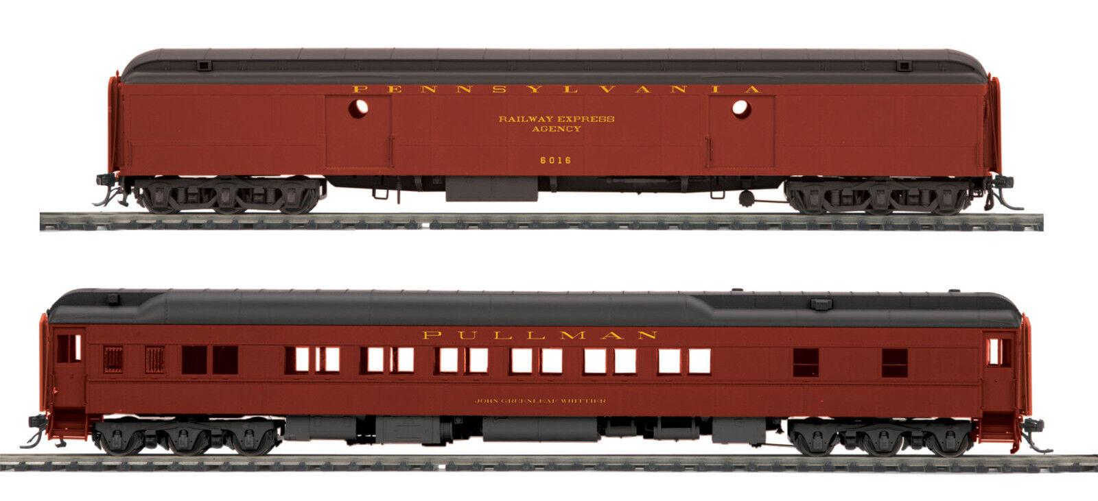 HO MTH Pennsylvania 2 voiture Heavyweight Passenger Set for 2 Rail Track 80-40002
