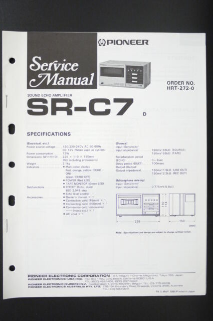 Pioneer SR-C7 Original Sound Echo Amp Service Manual ...