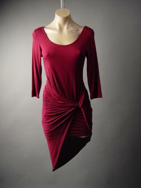 Burgundy Goddess Gathered Drape Sarong Style Wrap Skirt Party 212 mv Dress S M L