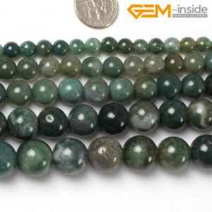 Natural-Round-Green-Moss-Agate-Stone-Loose-Spacer-Beads-Jewellery-Making-15-034-CA