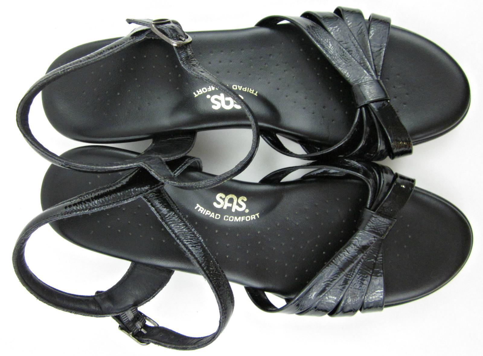 Servicio Aéreo Especial 'strippy' Tripad Comfort de Sandalias Patente Cuero Negro Sz 9W de Comfort ancho 1098c9