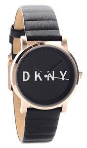 b13c71e64bd DKNY Soho Black Dial Rose Gold Toned Steel Black Leather Band Women ...