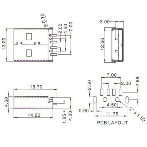 100Pcs USB 2.0 Type A Mâle AM 4 broches Panel Mount Socket Connecteur Bricolage