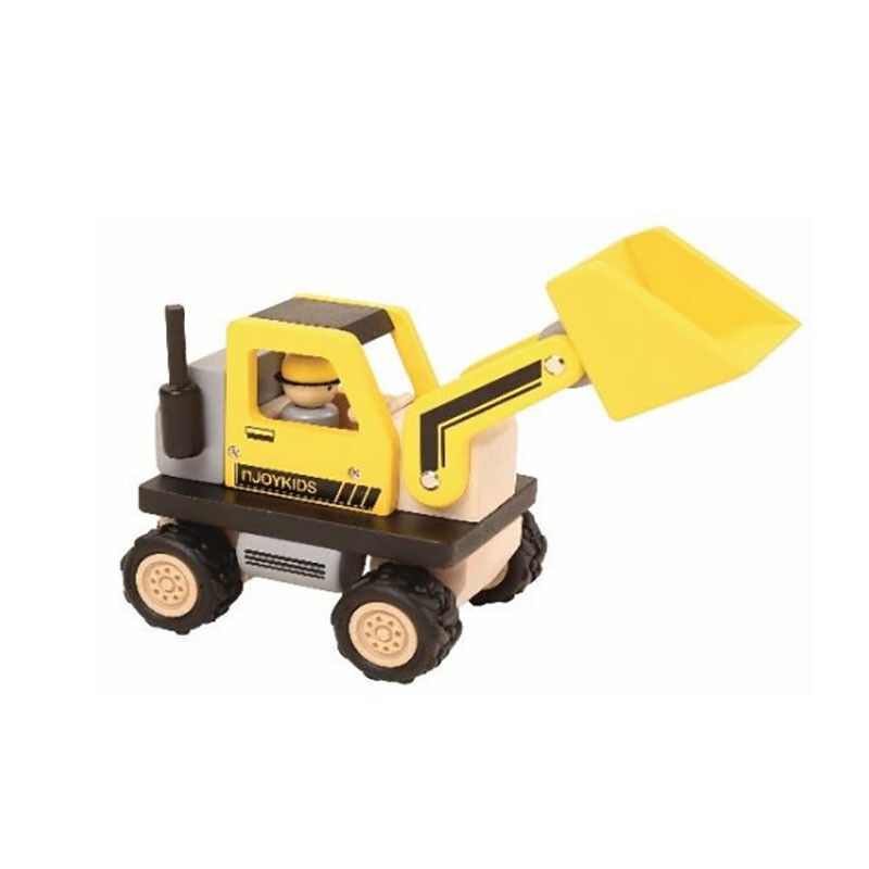 Njoykids 15013 Wheel Loader Yellow Bulldozer for the Construction Site new Wood