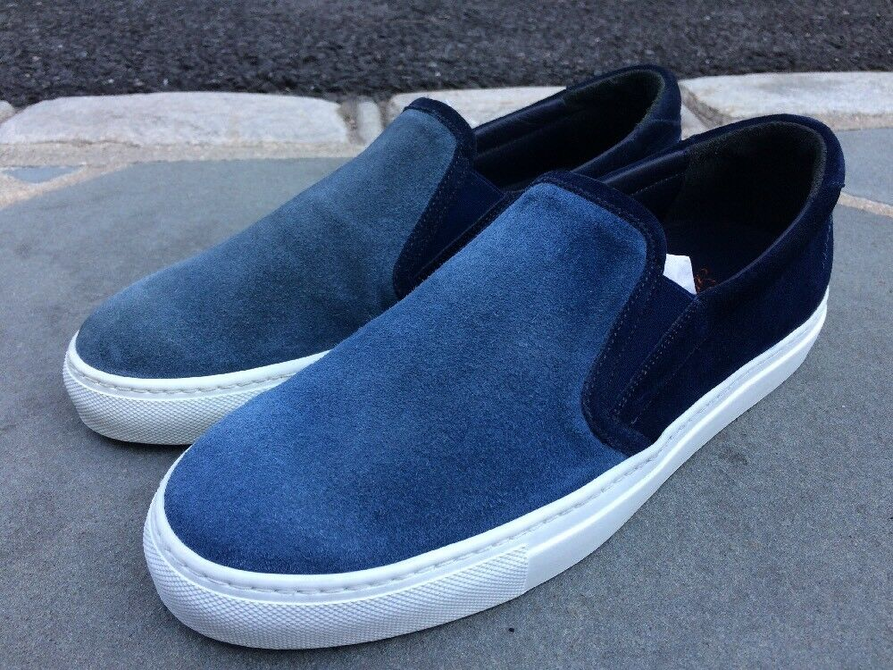 Hardly Used  250 Good Man Brand Italian Blue Suede Slip On Scarpe da Ginnastica. Taglia 9.5