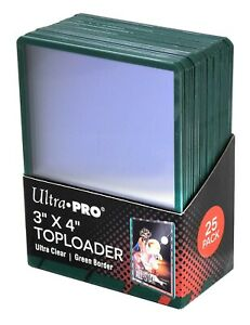 25-Ultra-Pro-Green-Border-ACEO-Toploaders-3x4-Topload-Art-Trading-Card-Holders