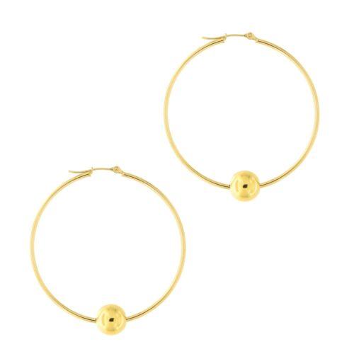 "1.8/"" 14k Yellow Gold 8mm Polished Ball Bead Thin Hoop Earrings 45mm"