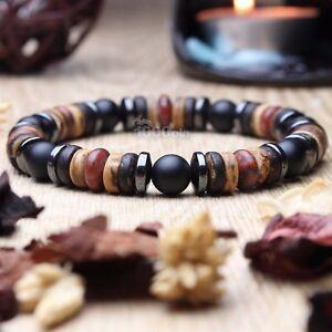 New Modèle Bracelet Homme perles pierre gemme Bois Cocotier/Coco Hématite