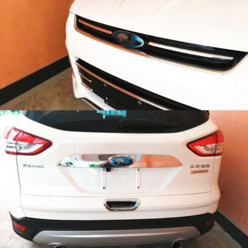 3tlg Chrom Edelstahl Vorne Hinten Heckklappe Lenkrad Emblem für Ford Kuga 2013+