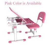 Height Adjustable B201 Healthy Ergo Study Desk & Chair Set, Pink, Tiltable Top