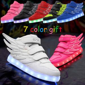 015b68e05d7699 Details about Xmas Boy Girl 7 Color LED Light Up Casual Shoes Kids Wing  Luminous Dance Sneaker