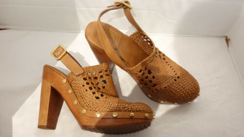TORY BURCH Leather Woven, Wood, Slingback,  High H