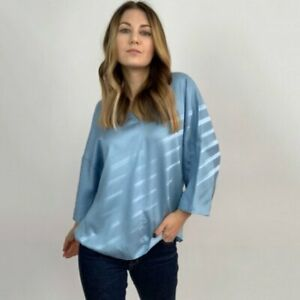 Tibi Satin Blue Batwing Sleeve Lyocell Top Women's Blouses Size Small