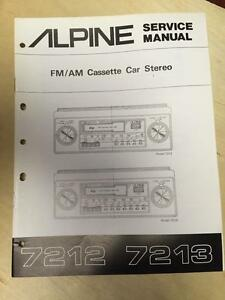 Alpine Service Manual For The 7212 7213 Cassette Tape Player Car