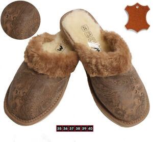 Damen-Warme-Lammfell-Schafwolle-Fell-Hausschuhe-Pantoletten-Pantoffeln-Leder
